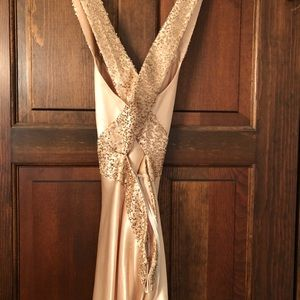 Gold gown with sequin accents